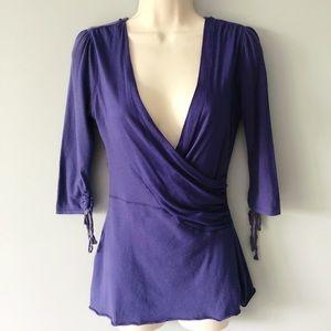 5/25 Free People Purple Faux Wrap Top Lace Back